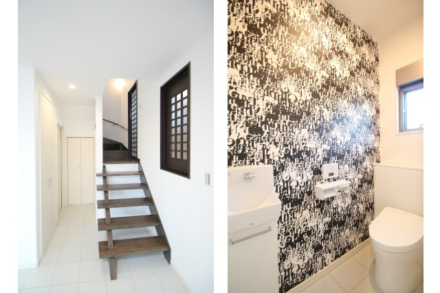タテ2枚 1F階段口とトイレ