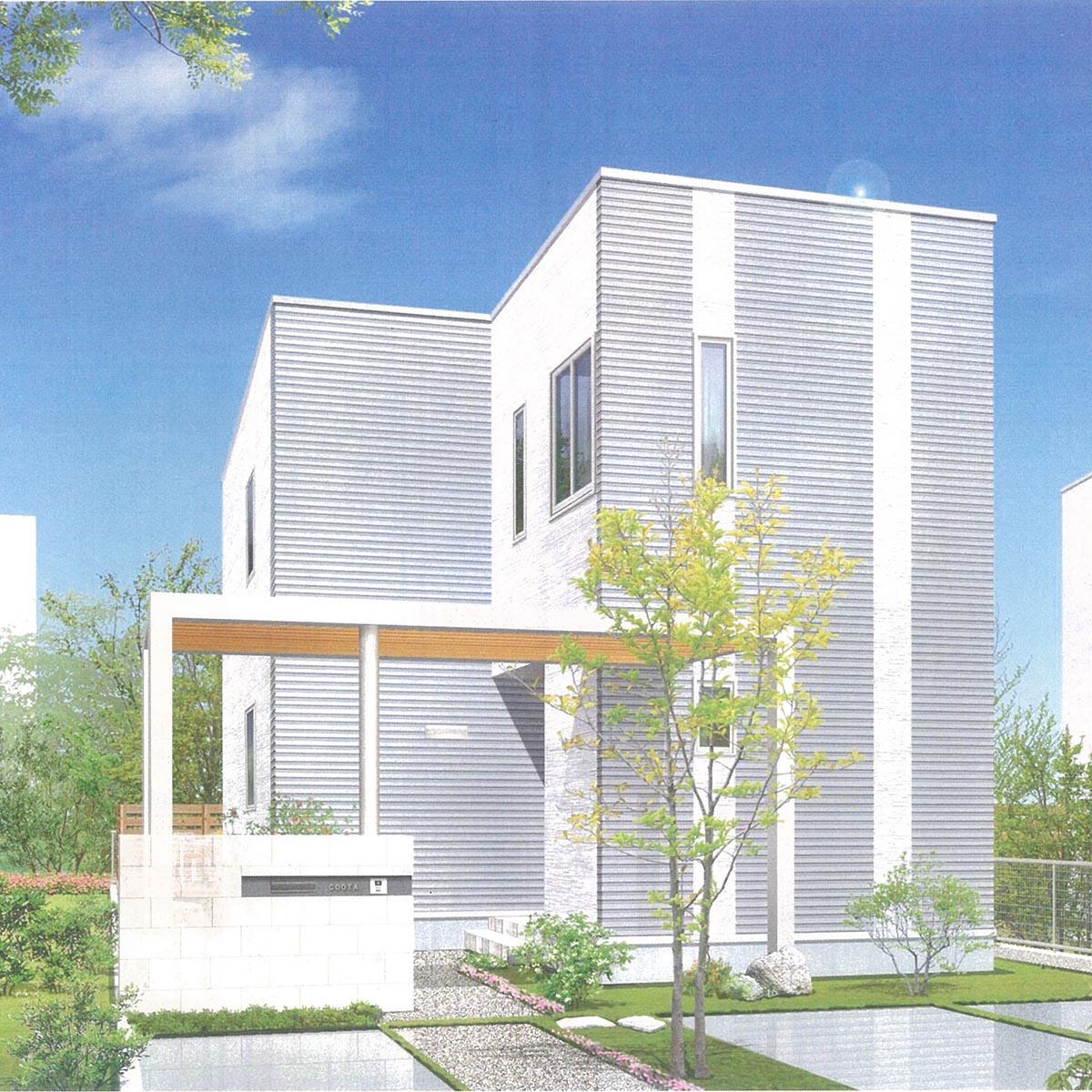 2世帯で暮らすモダンな3階建ての家